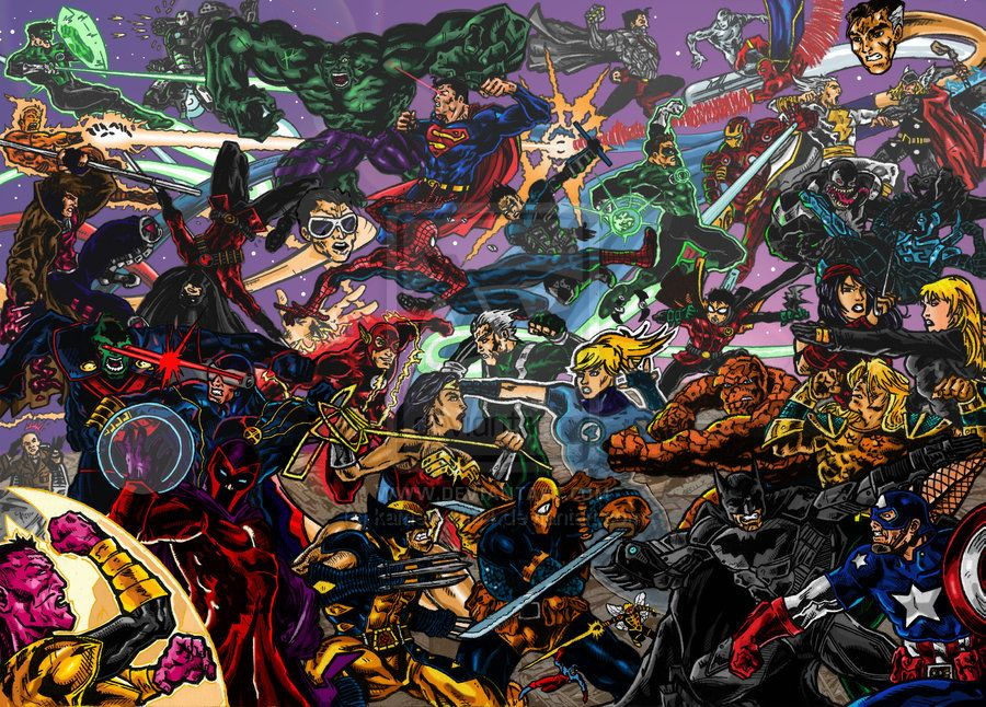 Marvel vs dc marvel vs dc coloured by kameleon84 on deviantart crossovers marvel desenhos - Marvel and dc wallpapers ...