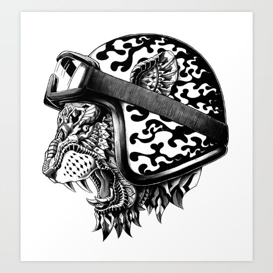 Tiger Helm Art Print