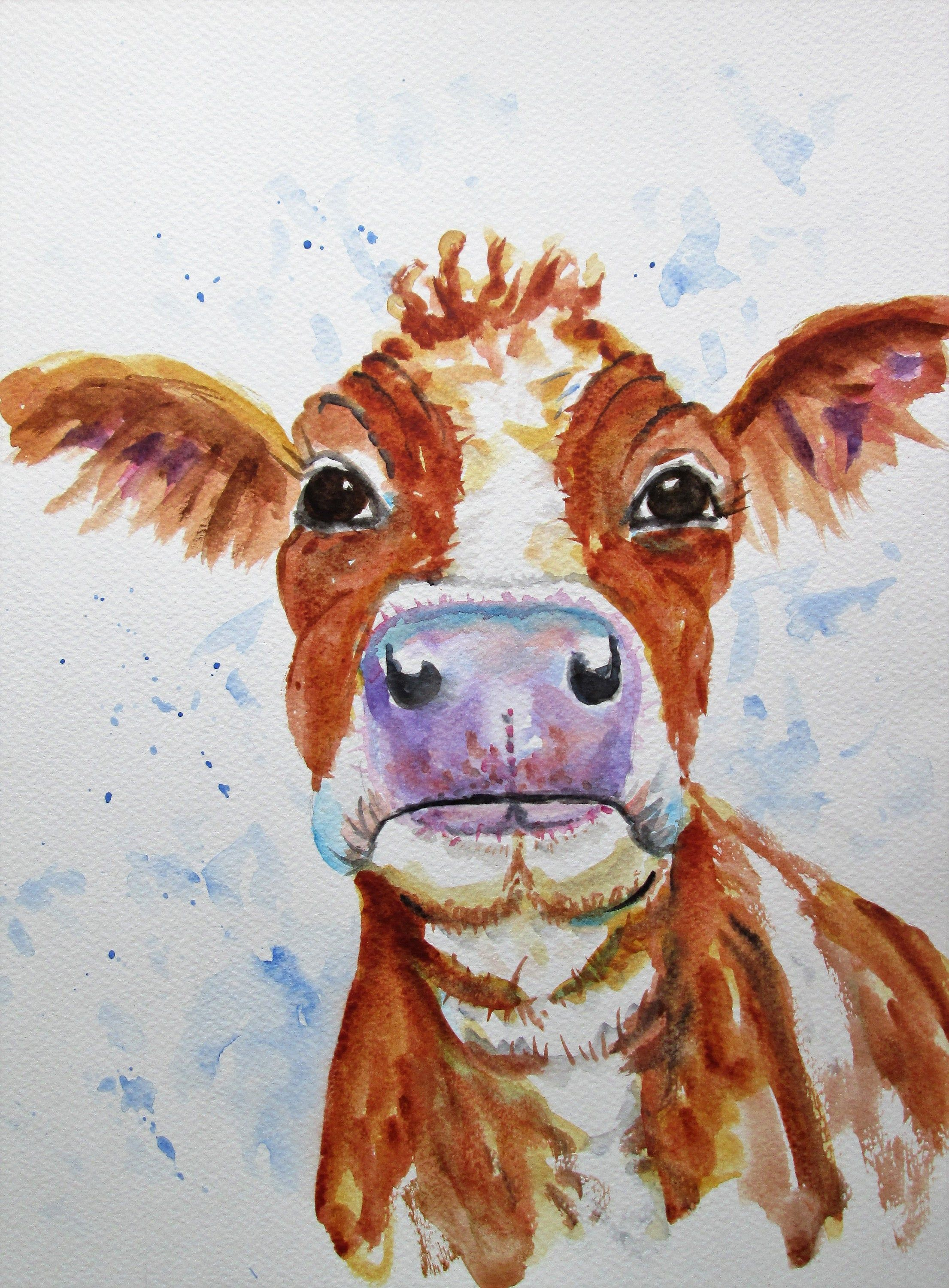 Original Cow Painting By Marjansart Jersey Cow Painting Livestock Farm Animal Brown Cow Portrait Barn Yard Art Cow Portrait Painting Cow Painting Cow Art Art Paintings For Sale