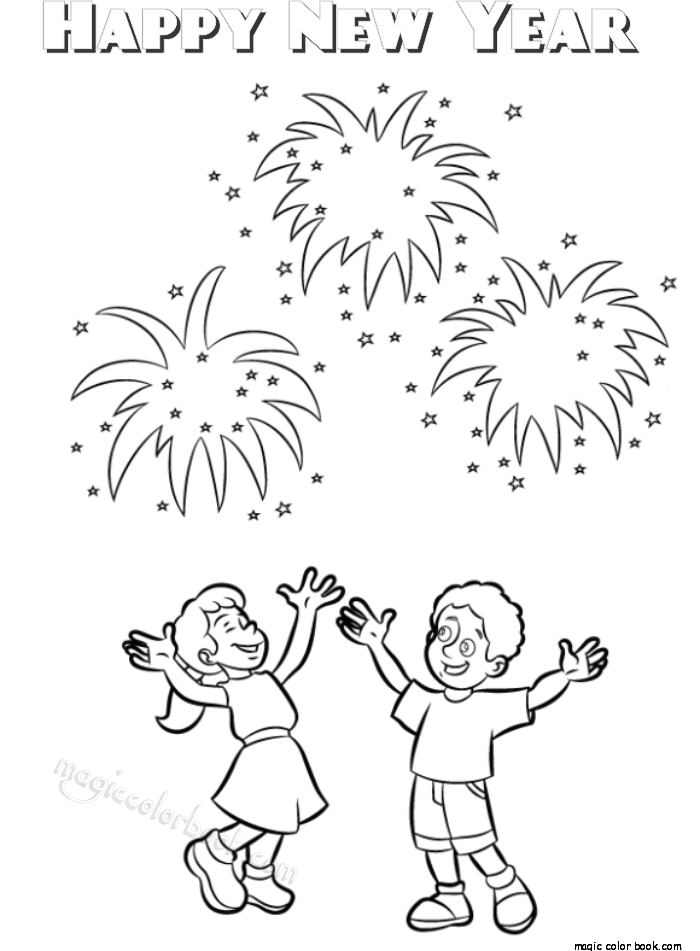 Pin av Magic Color Book på New Year Coloring pages free online ...