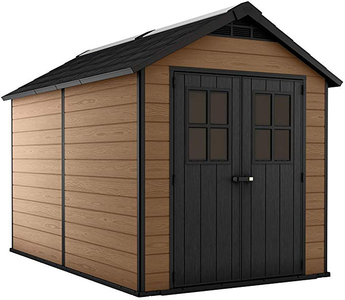 Amazon Com Keter 245115 Newton 7 5x9 Large Outdoor Resin Storage Shed Brown Garden Outdoor Outdoor Storage Sheds Resin Sheds Resin Outdoor Storage