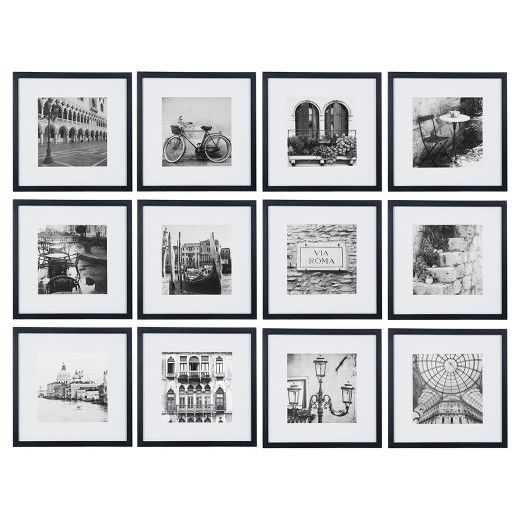 12pc 12 X 12 Black Frame Kit Matted To 7 5 X 7 5 Gallery Perfect Gallery Wall Frames Gallery Wall Kit Photo Wall Gallery