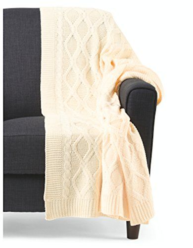 Broyhill Cable Knit Throw Cozy Blanket 50 By 60 Inch Couch Throws (Cream)  Broyhill
