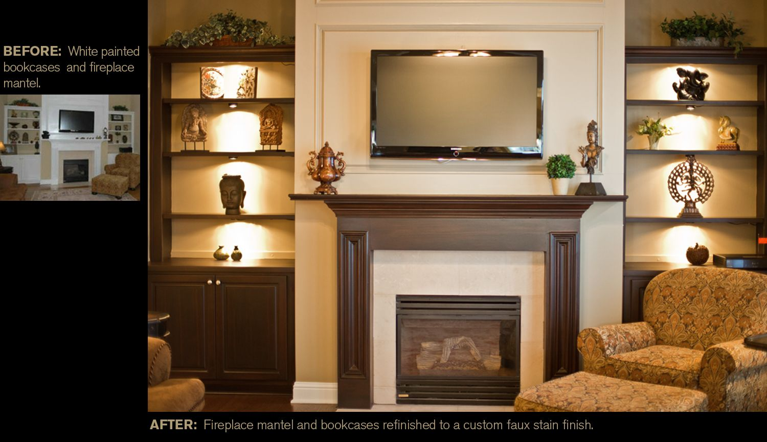 From white painted fireplace mantel and bookcases to a custom faux