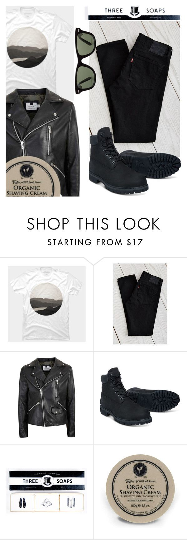 """""""Men's Fashion - Leather Jacket"""" by by-jwp ❤ liked on Polyvore featuring Levi's, Topman, Timberland, Taylor of Old Bond Street, Ray-Ban, men's fashion and menswear"""