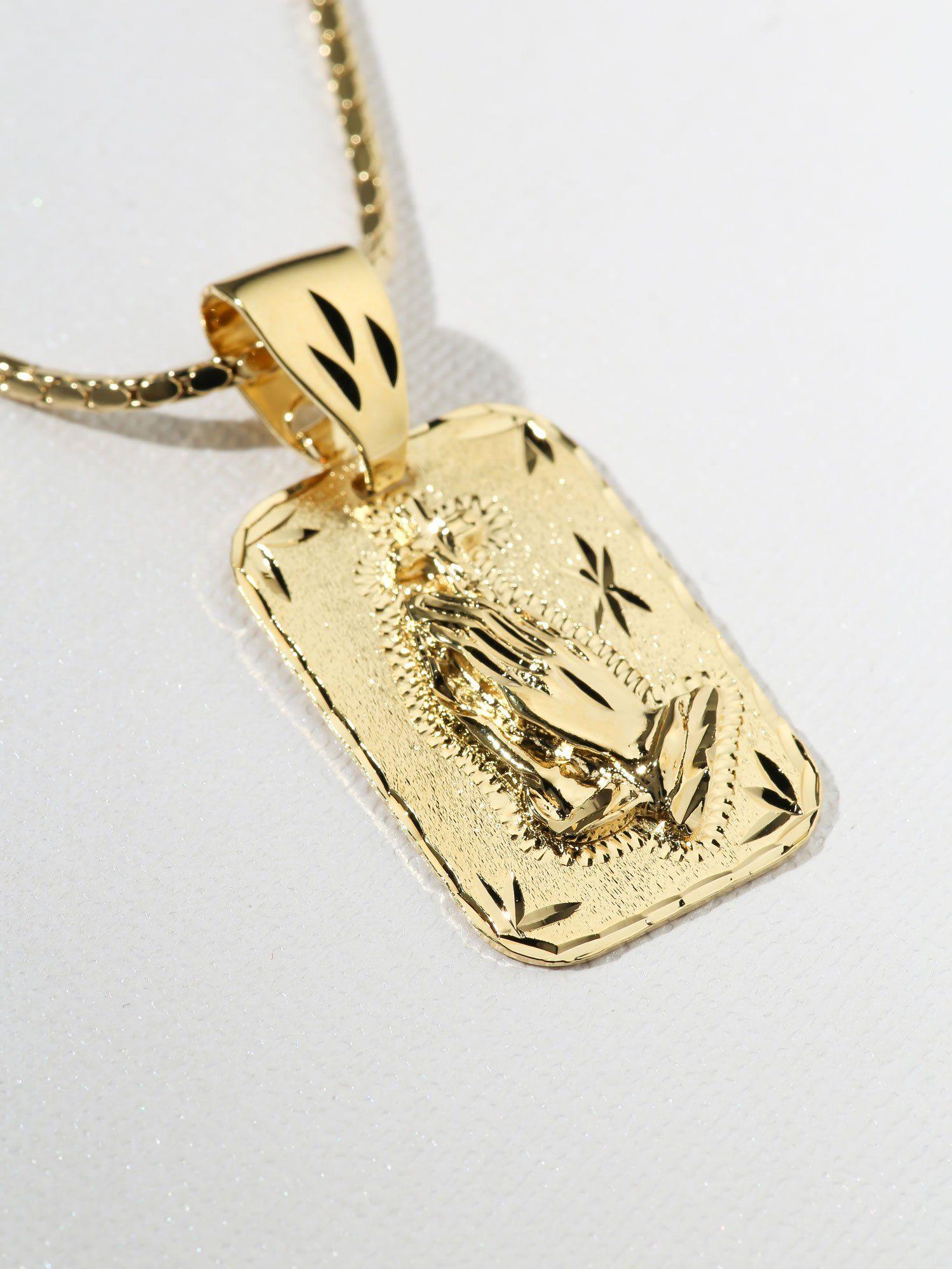 14K Solid Yellow Rose Gold Praying Hands Pendant Polish Necklace Charm Women Men