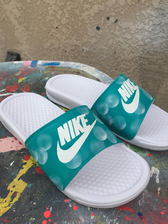 finest selection f88cb 700ec Custom Bubble Nike Slides.
