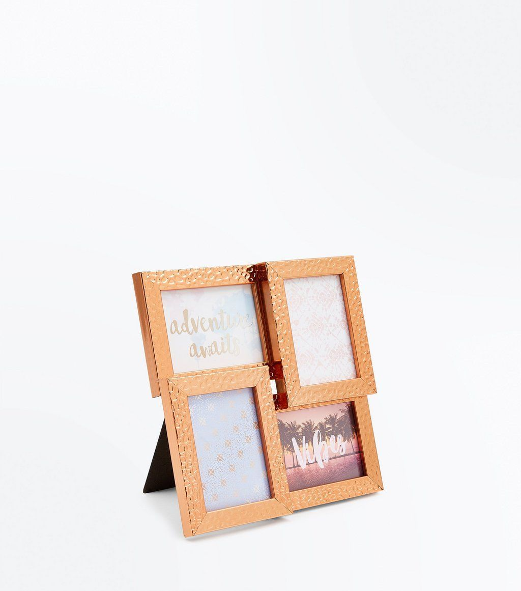 Rose Gold Hammered Metal Multi Picture Frame | Multi picture frames ...