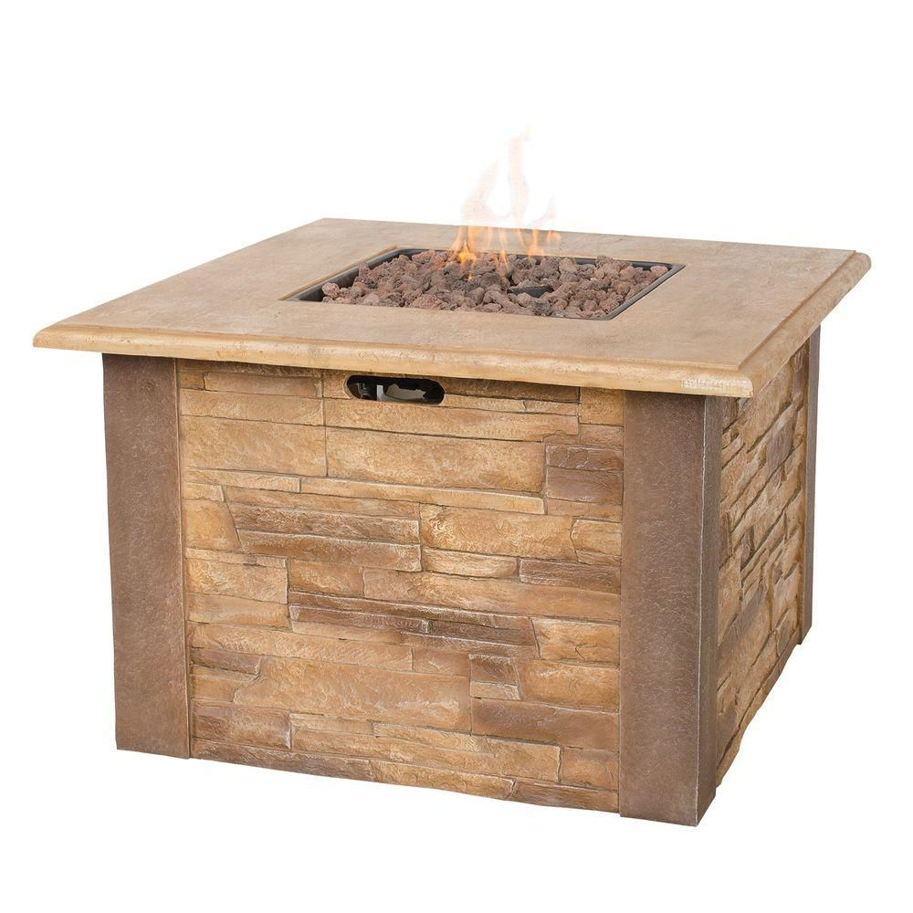 Stacked Stone Propane Gas Fire Pit GAD1338SP   The Home Depot