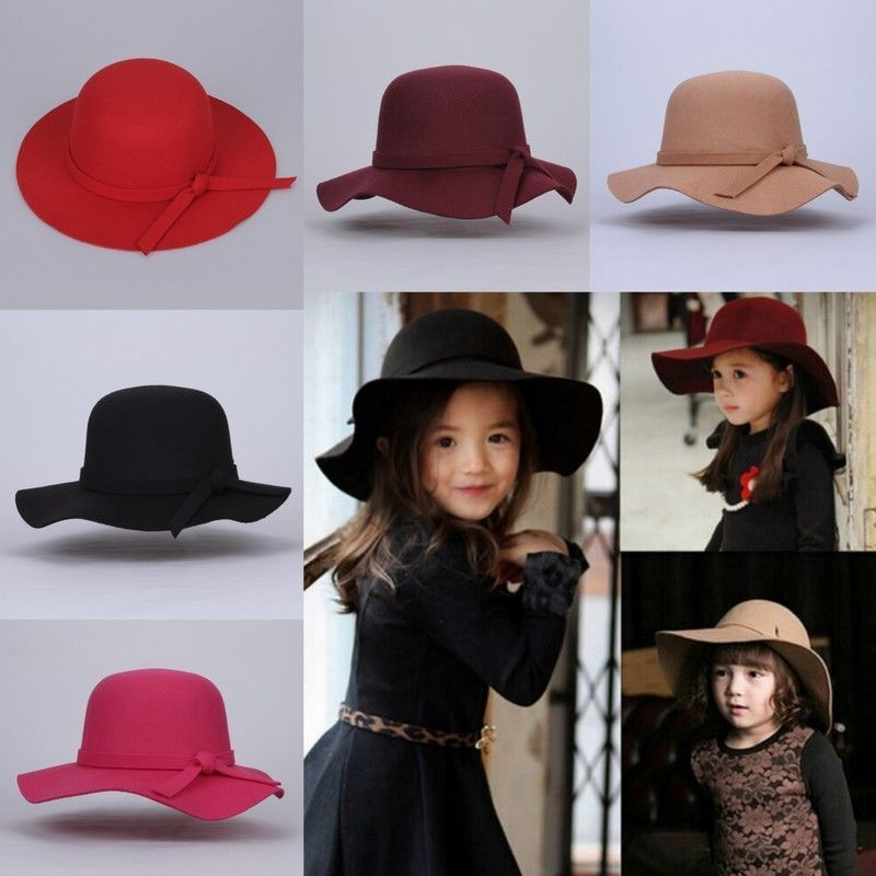 d331b2efd86383 New Kids Girls Children Wide Brim Hat Retro Felt Bowler Fedora Floppy Cap  Cloche