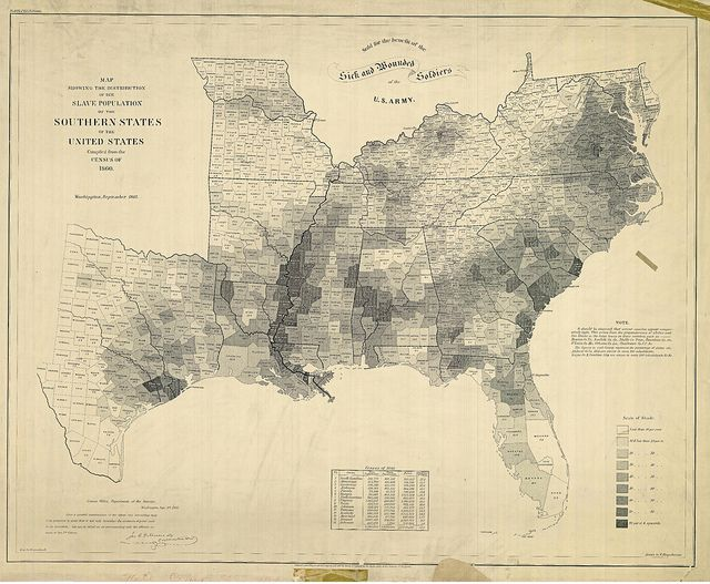 One of the most important maps of the Civil War was also one of the most visually striking: a map of the slaveholding states, which clearly illustrates the varying concentrations of slaves across the South. Abraham Lincoln loved the map and consulted it often; it even appears in a famous 1864 painting of the president and his cabinet.