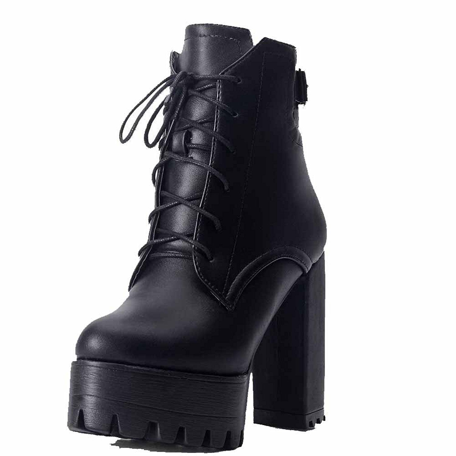 Women's Solid PU Low-Heels Buckle Round Closed Toe Boots