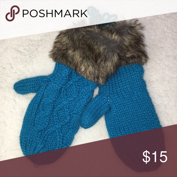 Aqua Turquoise warm fur cuff string mittens Aqua Turquoise knitted fur cuff string sweater mittens. New, cableknit sweater mittens lined for warmth with faux fur cuff. Remember when you were a kid & your mittens had a long attached string that went through your coat sleeves & you could take them off when your hands got hot without losing them? These have the long string! Why should kids have all the fun? Adult size mittens meant for loss prevention! Makes a great gift. (A26) Kerry On…