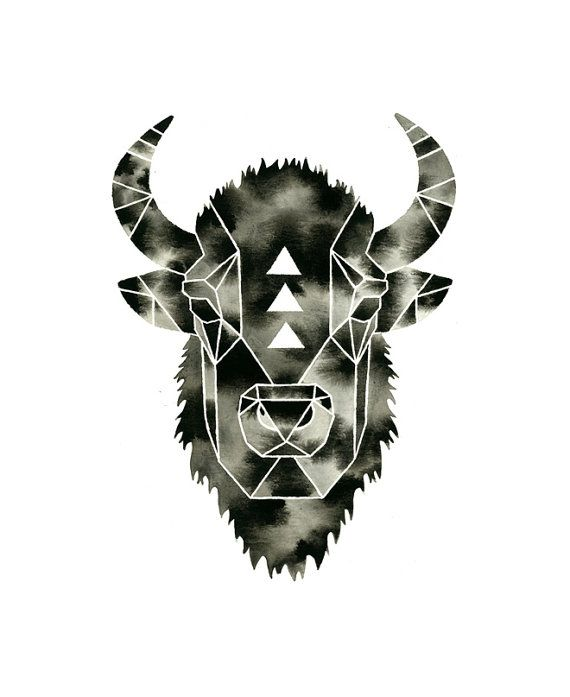 Buffalo Print . Watercolor Bison Buffalo . by GeometricInk on Etsy ...