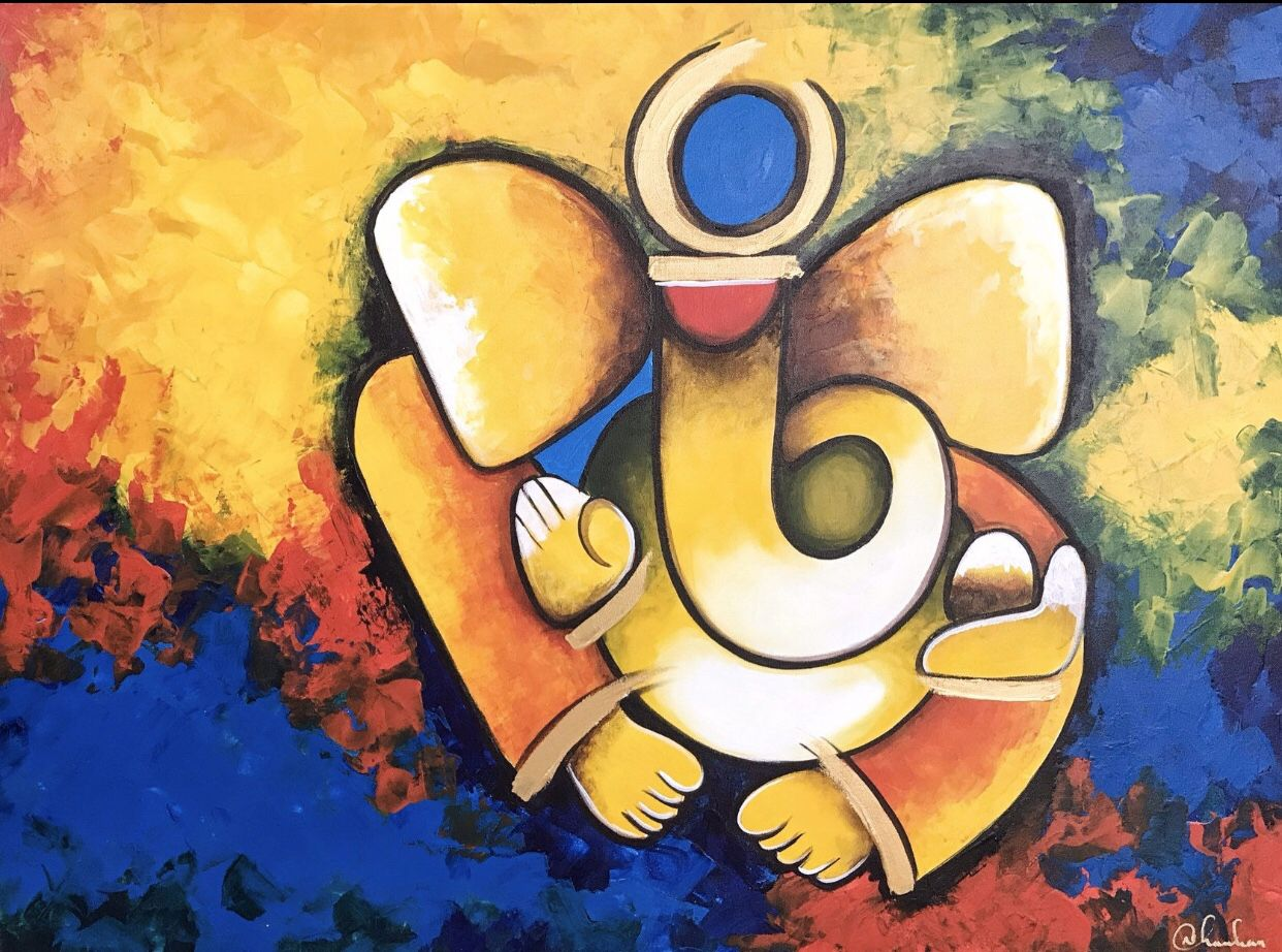 Modern Ganesha Paintings Indian Art By Niksfineart Ganesha Painting Modern Indian Art Indian Contemporary Art
