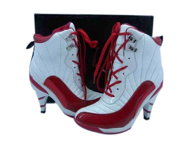 932df1f51d5b7a Air Jordan 12 High Heels Boots White Red Jordan Sport Shoes