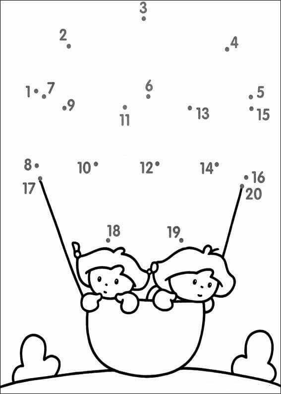 cijfertekening t m 20 luchtballon kleuterschool