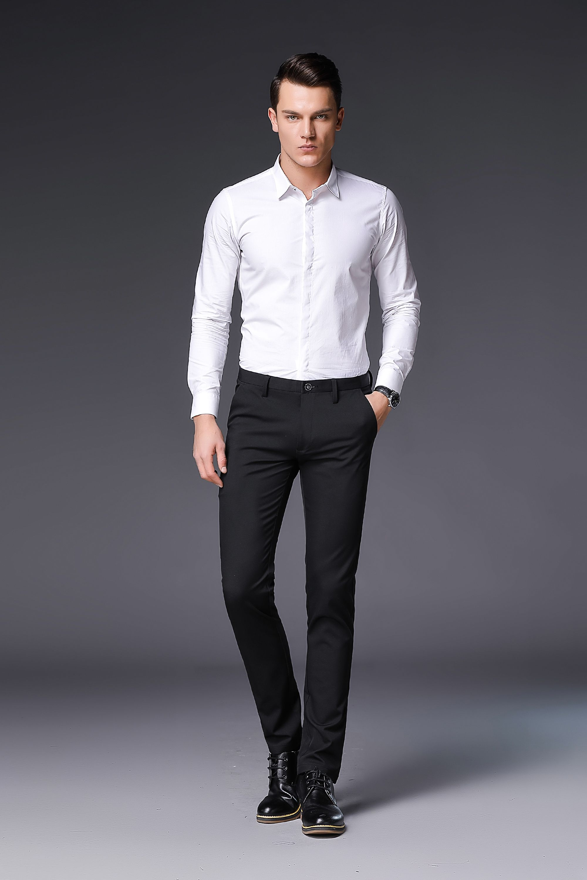1ec78087a66b1 Plus Size Solid Pants Men Slim Fit Stretch Leisure Mens Trousers Casual  Business Perfume Masculine 608