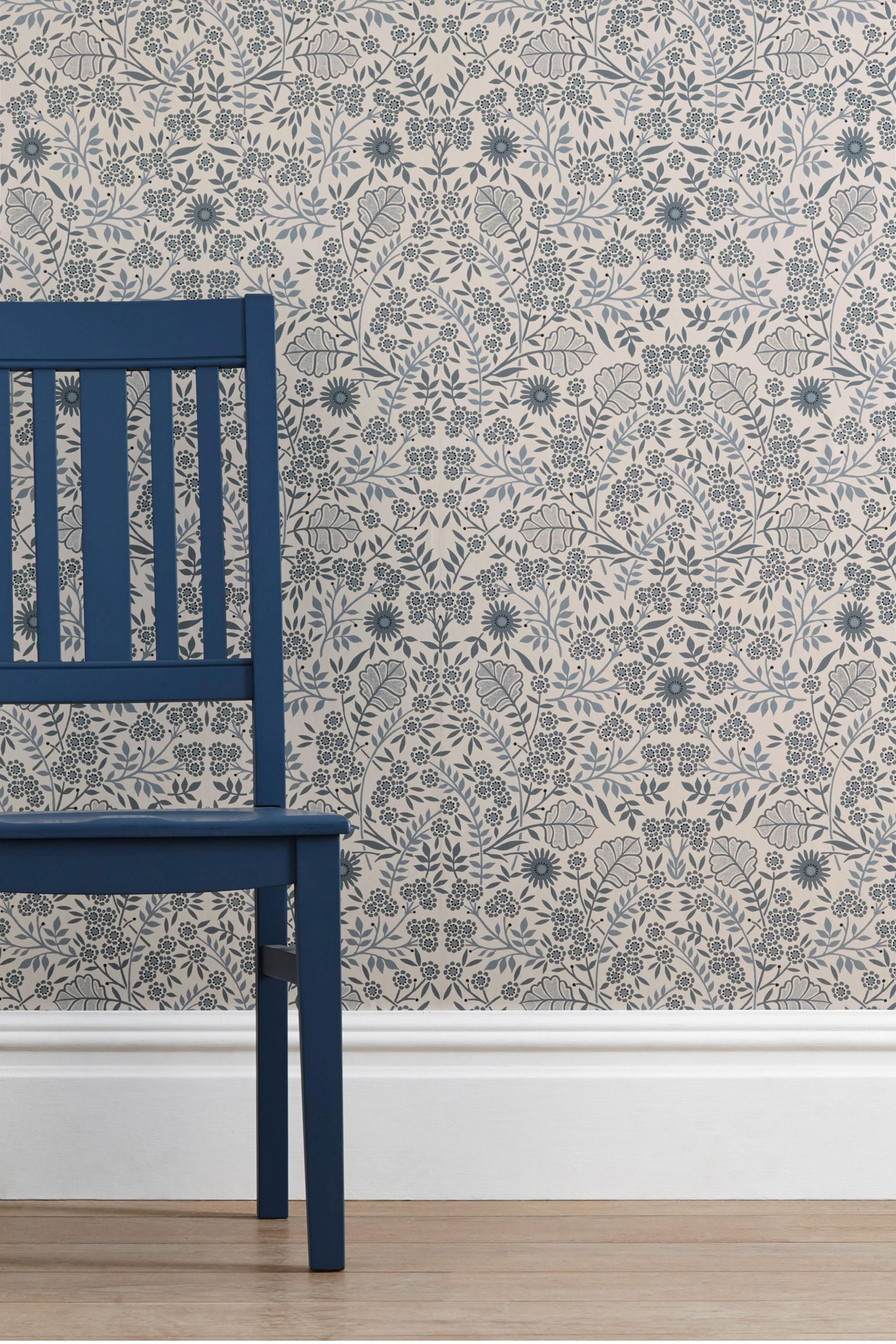 Buy Blue Creswell Floral Wallpaper From The Next Uk Online