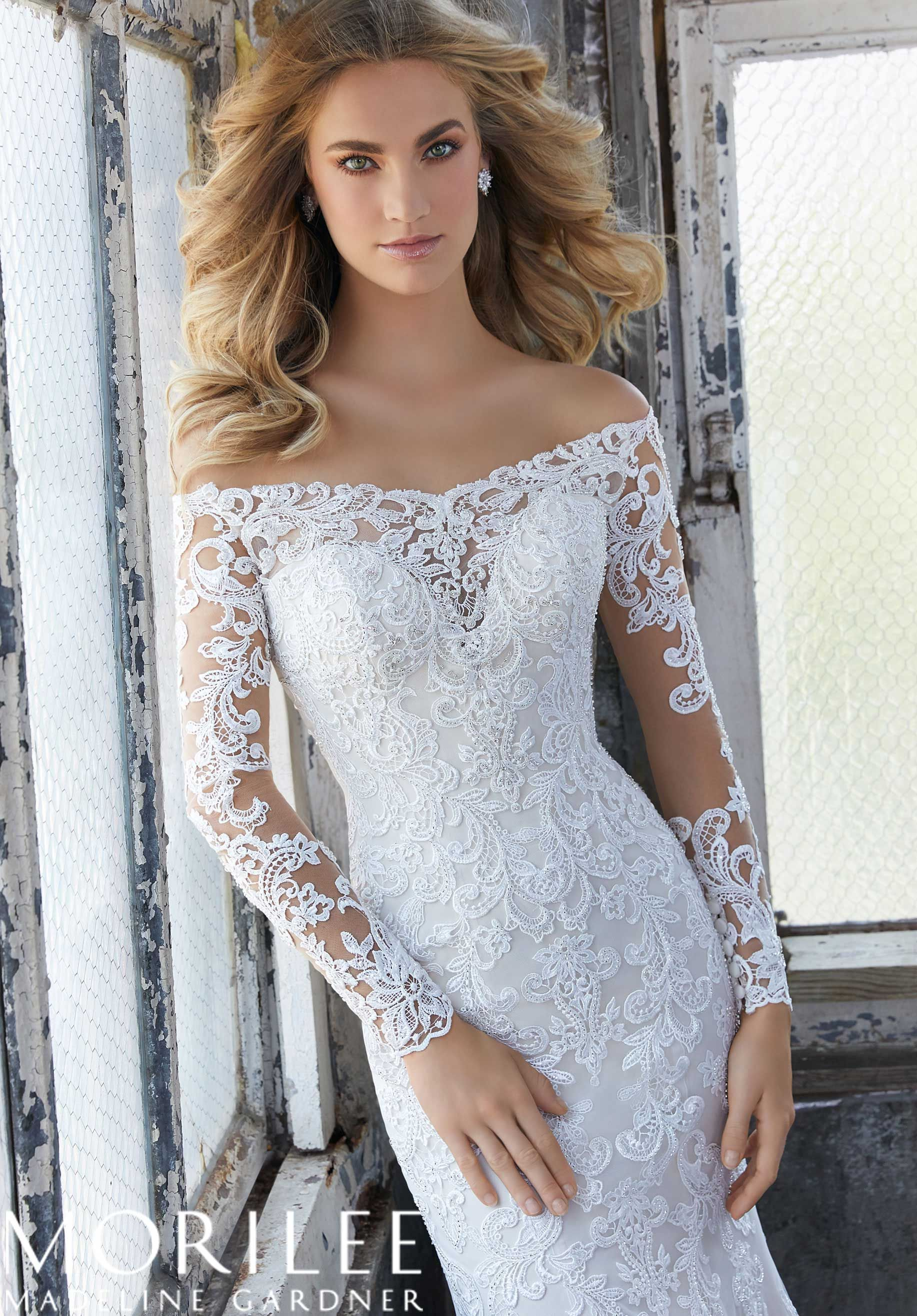 Morilee Madeline Gardner Karlee Style 8207 Elegant Fit And Flare Wedding Dress Featuring An Off The Shoulder Illusion Neckline Crystallized Venice