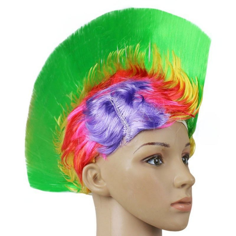 Punk Mohican Wig Halloween Party Costume Fancy Dress Mohawk Hairstyle Cockscomb