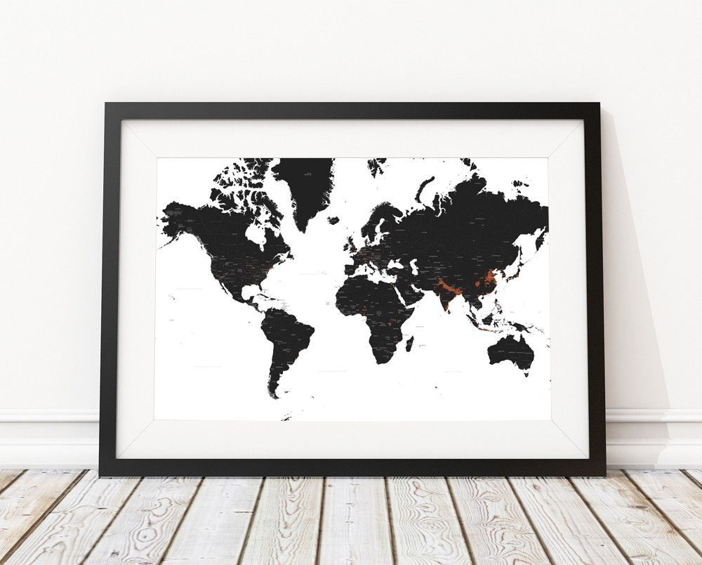 Watercolor world map print printable black white wall art adventure black and white world map print home decor pinterest bedrooms black white world map print gumiabroncs Gallery