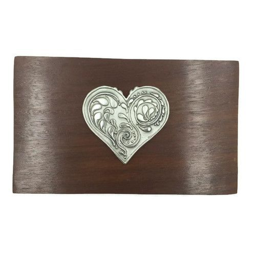 Small Jewelry Keepsake Box with Pewter Heart