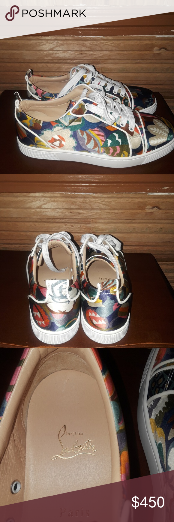 32b081f2e6aa Christian Louboutin Sneakers Fabric foral design upper