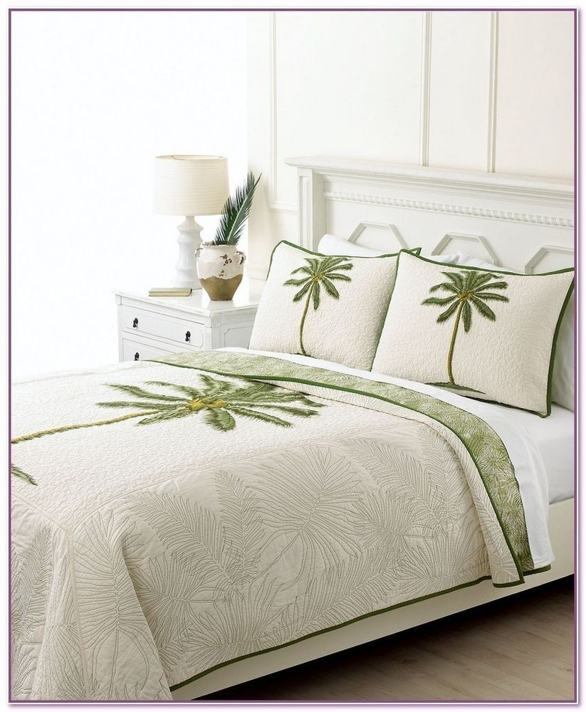 Martha Coconut Palm Twin Quilt Standard Pillow Sham Palms Trees N Tropical