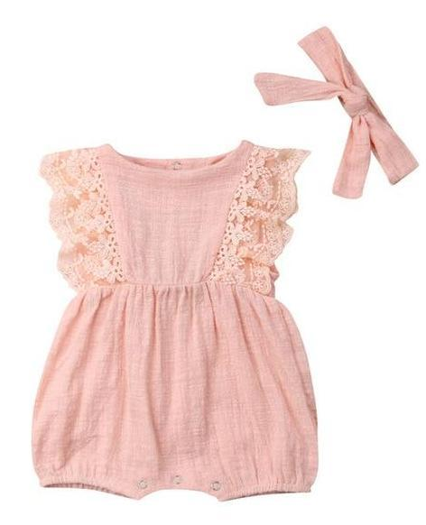 243530ce80 Baby Girl Summer Romper Matching Headband Free shipping! Please allow 12-27  days for delivery.