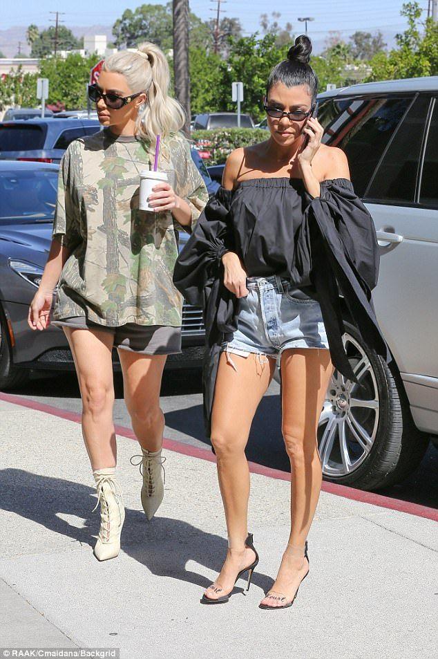 Kim And Kourtney Kardashian Flaunt Their Legs In Hotpants At Baby