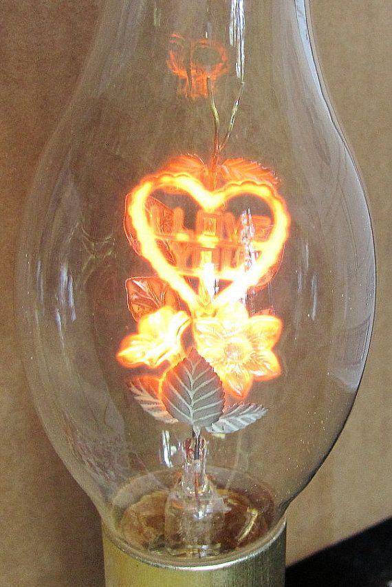 Vintage Leviton Glass Base Boudoir Lamp with AeroLux I Love You Glow ...