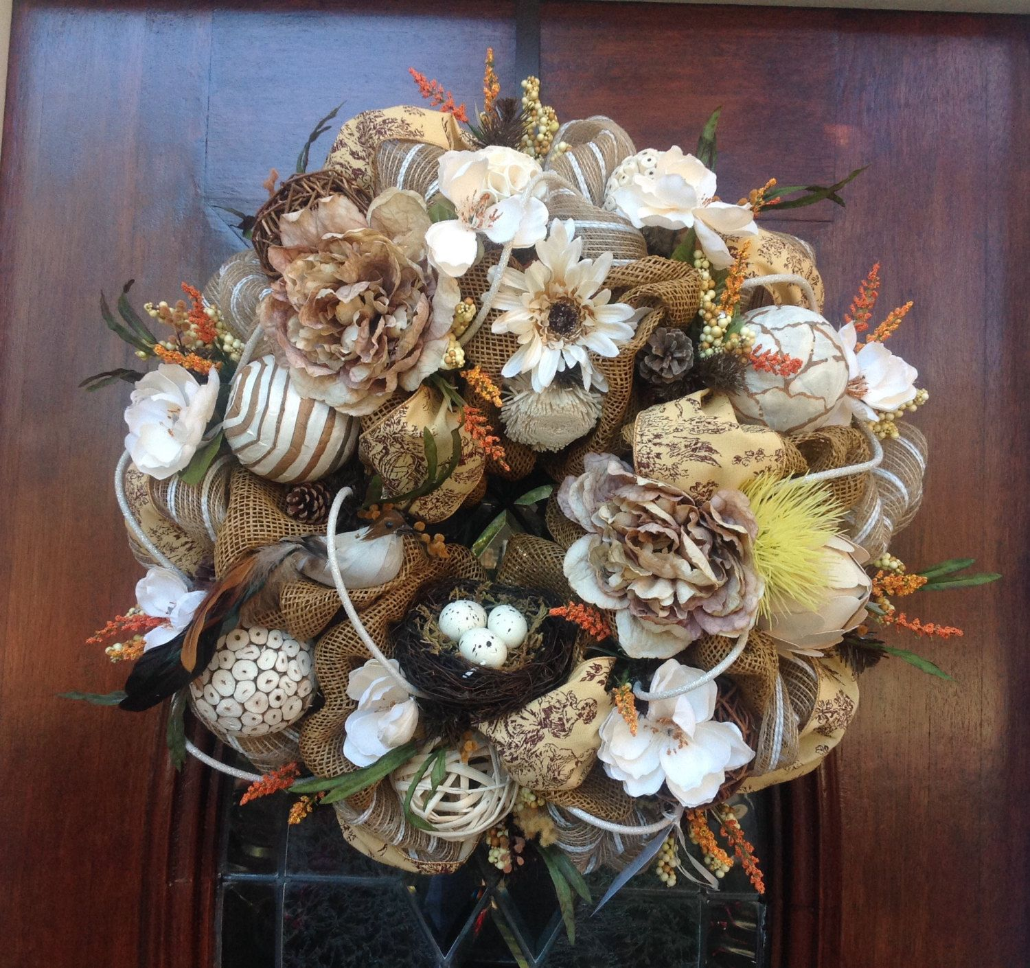 Neutrals and White Spring Burlap and Mesh Wreath by HertasWreaths on Etsy