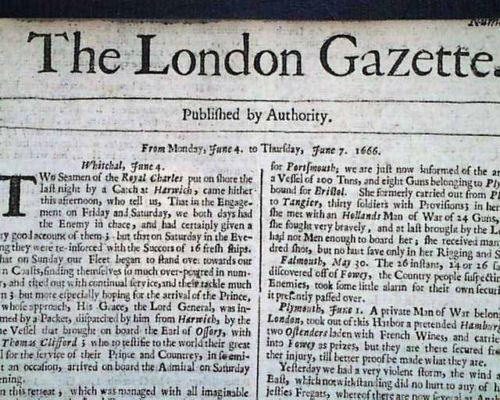 Very Early London Gazette 17th Century 1666 England Newspaper W Great Plague The London Gazette 17th Century London