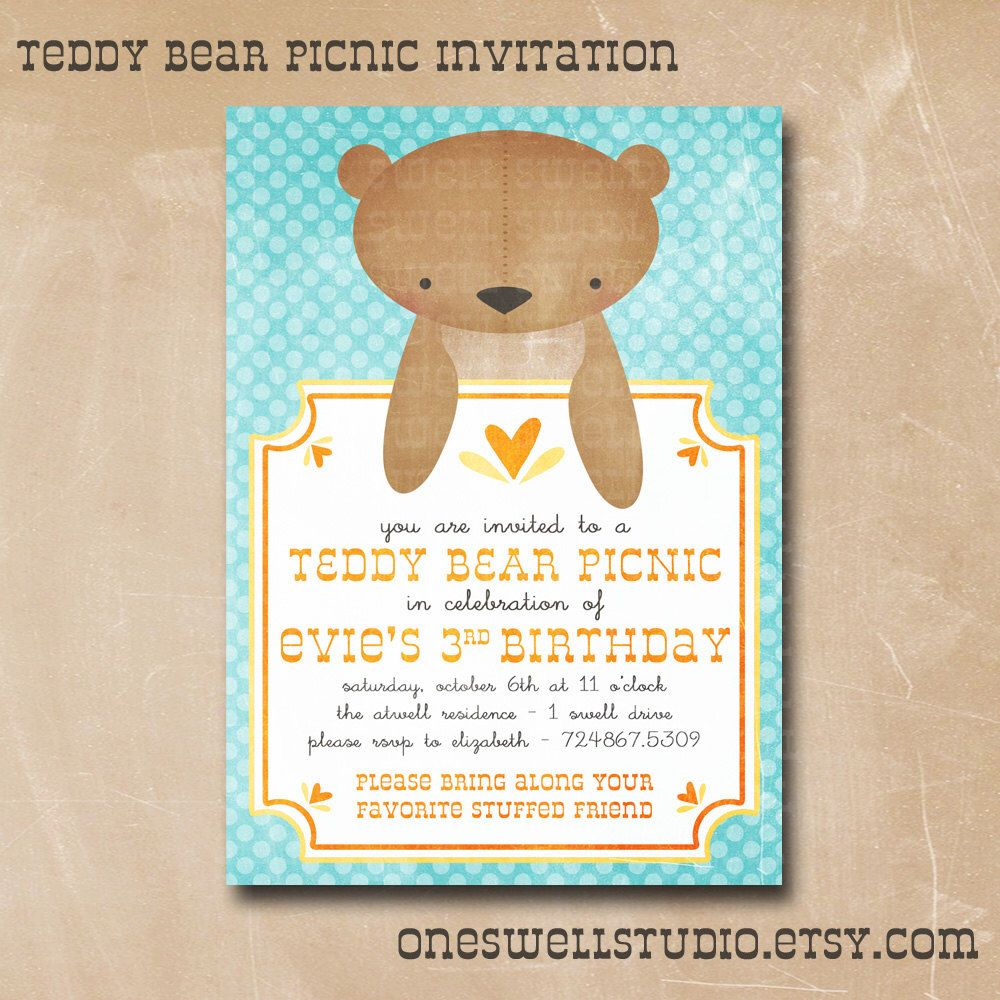 Teddy Bear Invitation Gender Neutral Birthday Invitation Teddy ...