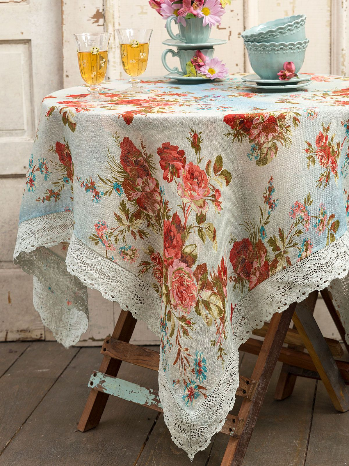 Heirloom Rose Linen Tablecloth Kitchen Table Linens Tablecloths Beautiful Designs By April Cornell Table Cloth Linen Tablecloth Blue Tablecloth