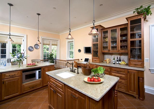 peach walls dark brown cupboards wall color schemes