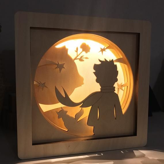 Little prince shadow box – The Little prince lamp – Little prince nursery – little prince baby shower – Baby boy nursery decor – Night light