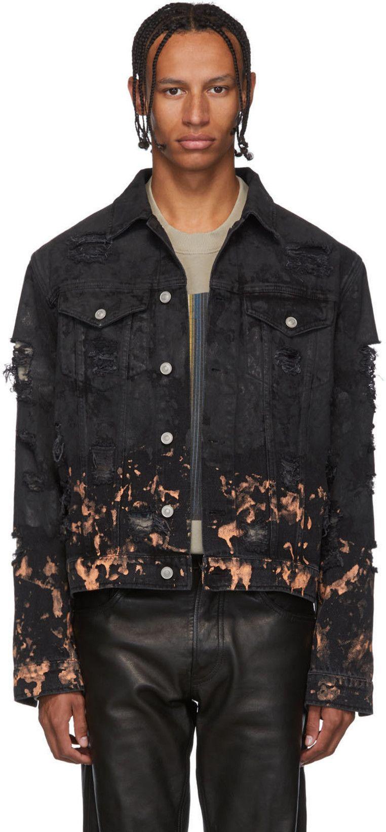 1017 Alyx 9sm Black Denim Ripped Jacket Ssense Ripped Jacket 1017 Alyx 9sm Jackets [ 1640 x 762 Pixel ]