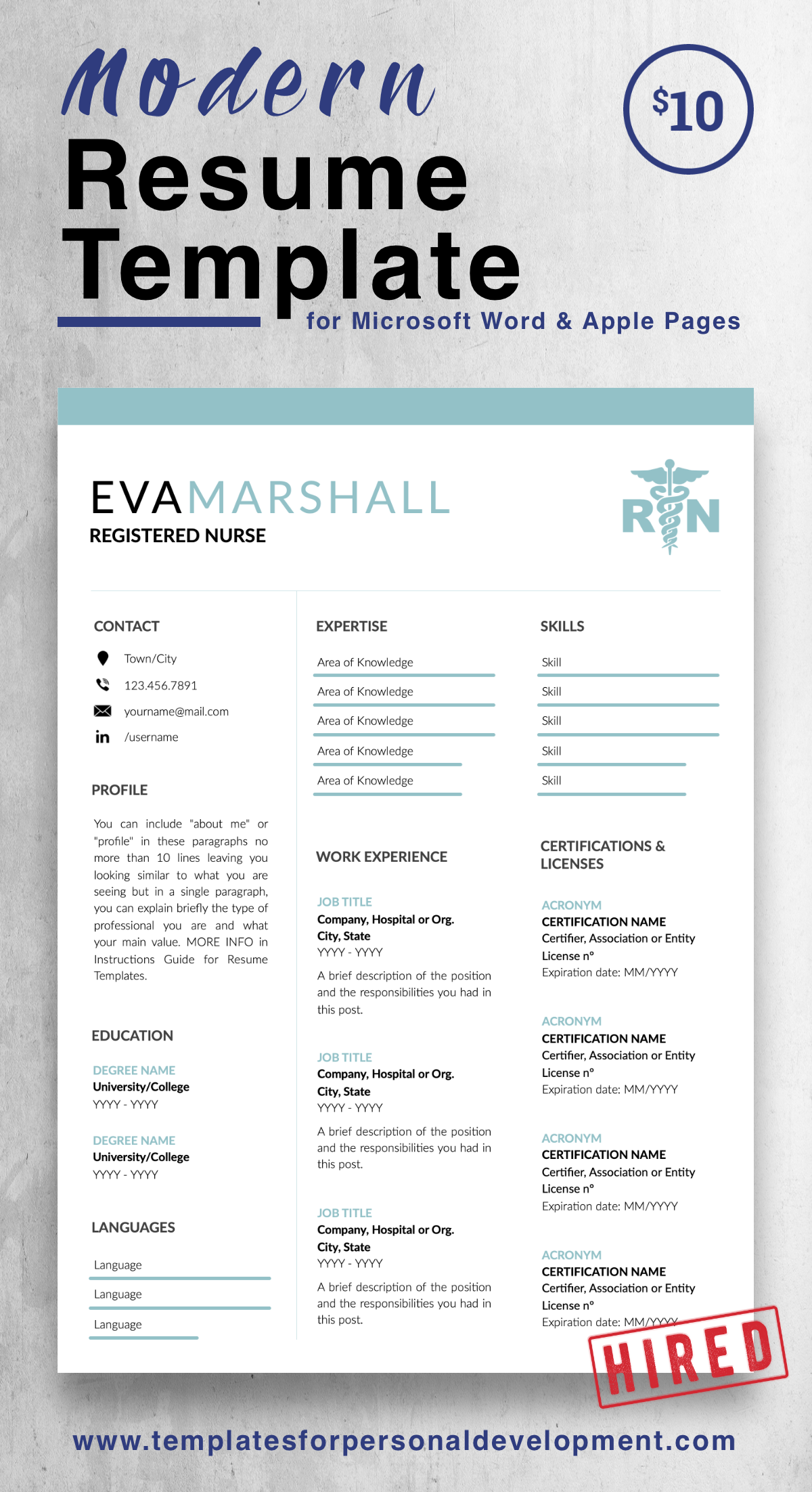 Eva Marshall Nurse Resume Cv Template For Word Pages Us Letter A4 Files 1 2 3 Page Resume Version Cover Letter References Cover Letter With Nursing Resume Template Resume Template Resume