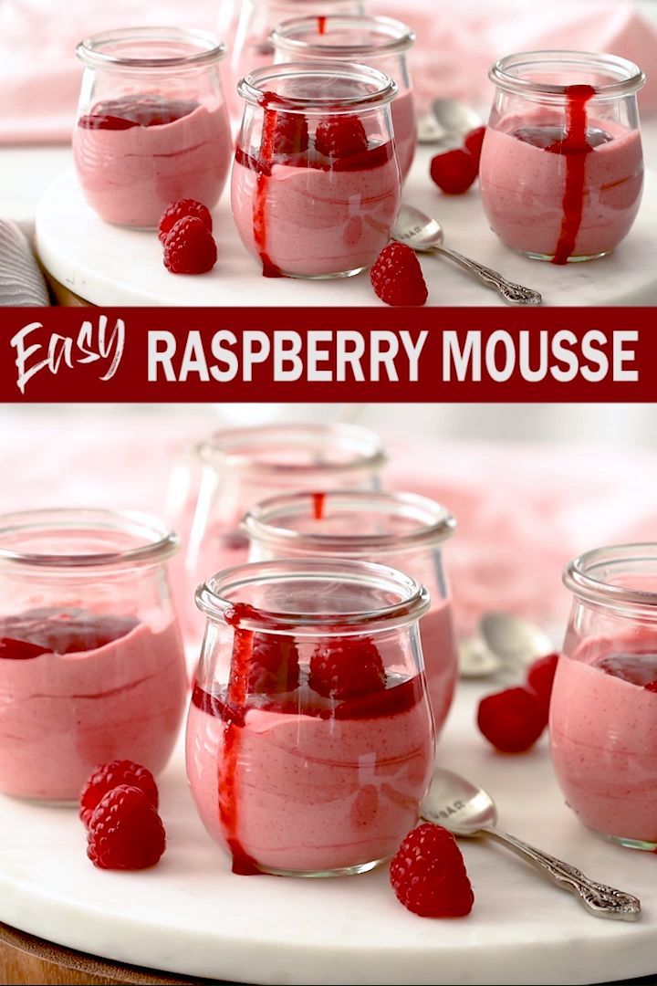 Easy Raspberry Mousse - Raspberries - Ideas of Raspberries - With just 10 minutes of effort you can create this luscious Easy Raspberry Mousse at home yourself. Just 5 simple ingredients including frozen raspberries so you can have this melt in the mouth eggless mousse any time of year.