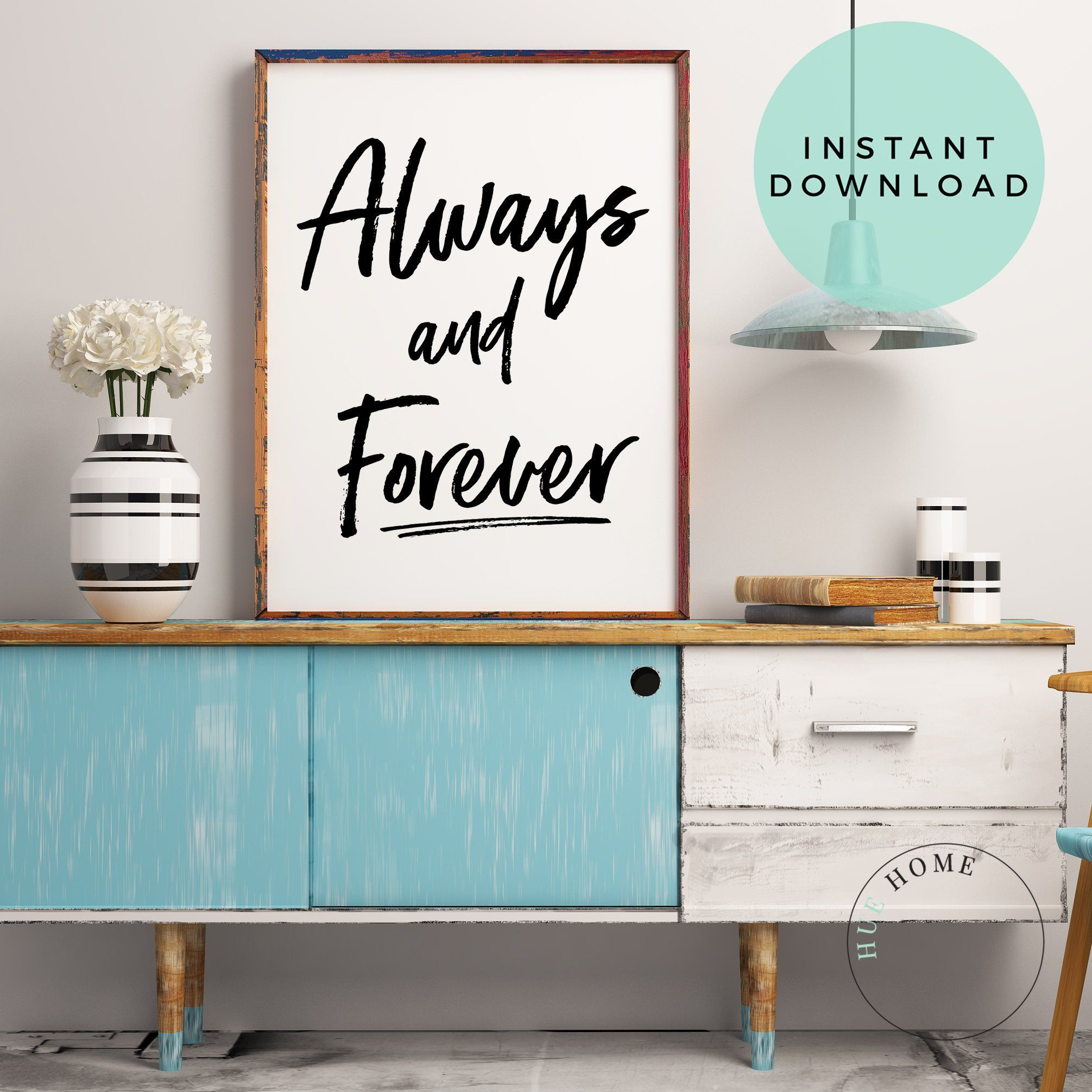 Typography Poster Always And Forever Large Printable Etsy In 2020 Typography Poster Bedroom Posters Couples Poster