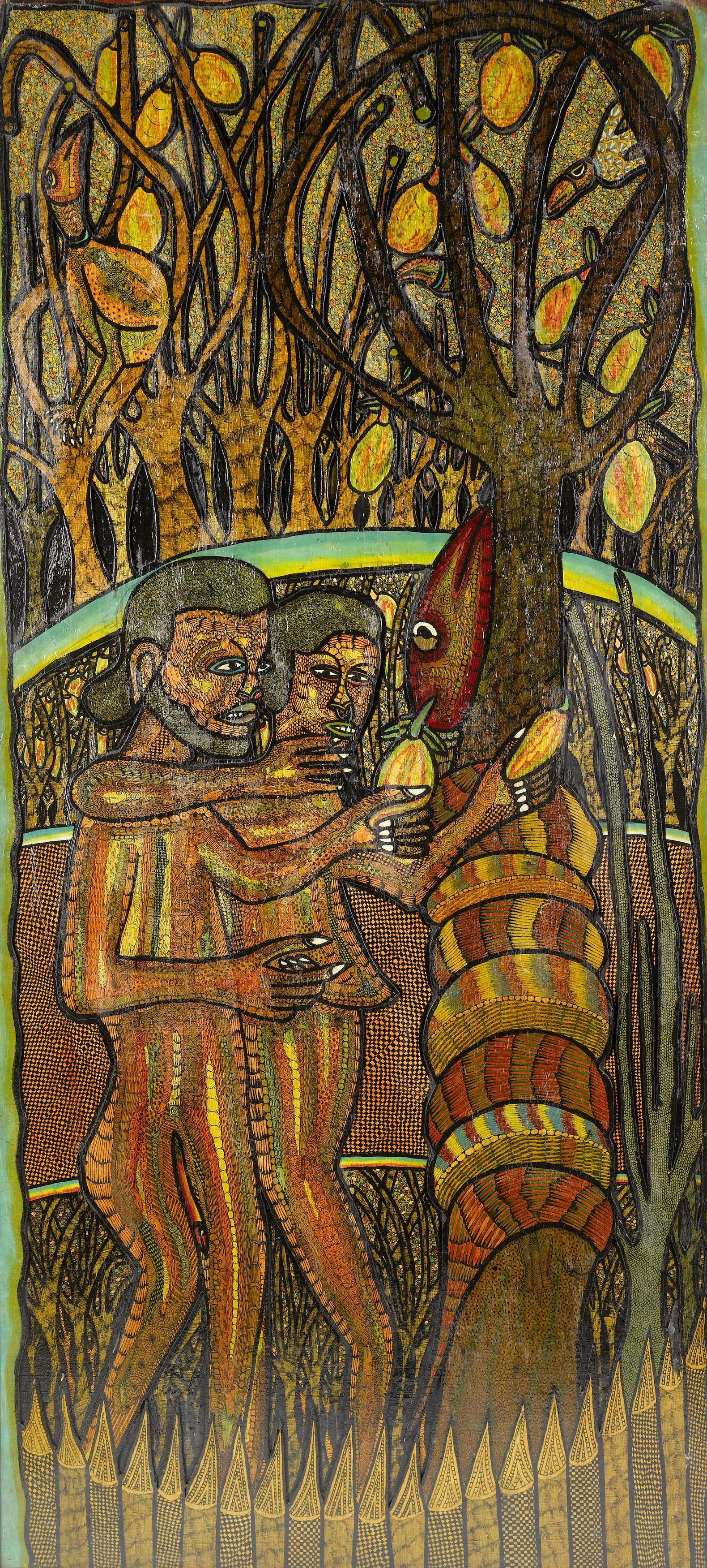 "Garden of Eden,"" Twins Seven-Seven (Nigerian, 1944-2011), Mixed ..."