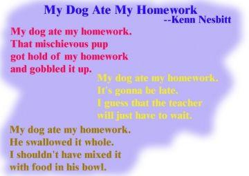 my dog ate my homework poem by kenn nesbitt