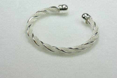 18kt-White-Gold-Plating-over-Sterling-Silver-Bangle-Bracelet