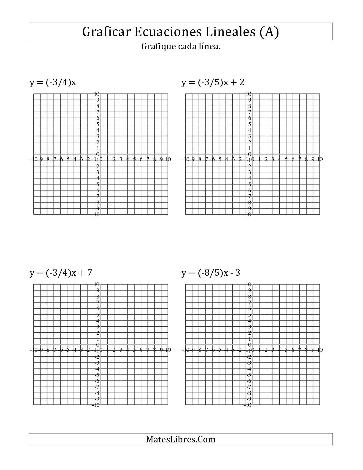 La hoja de ejercicios de Graficar Ecuaciones con Pendiente e ...