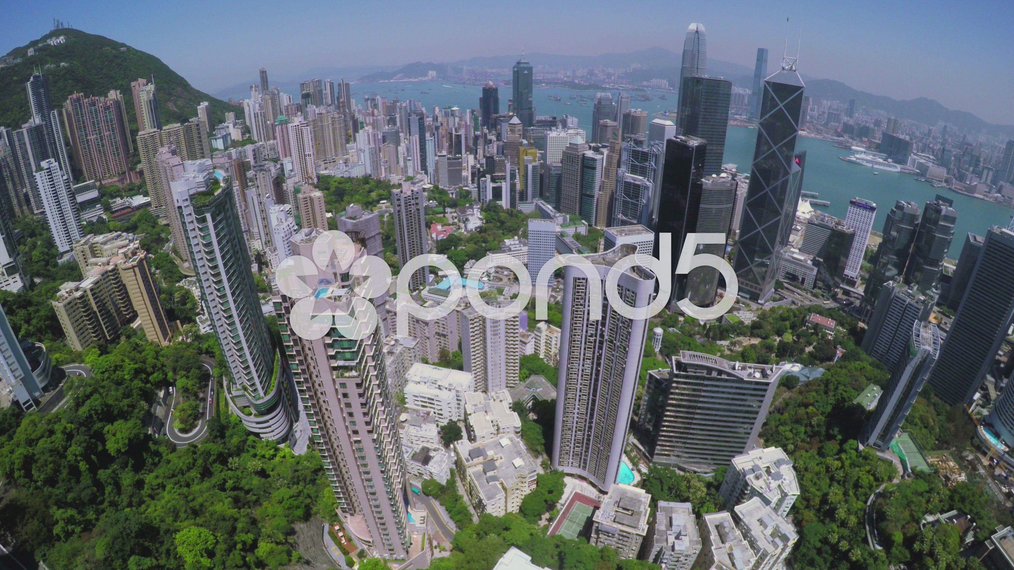 Hong Kong City Aerial Beautiful Clear Blue Sky Stock Footage Aerial Beautiful City Hong Clear Blue Sky Aerial City