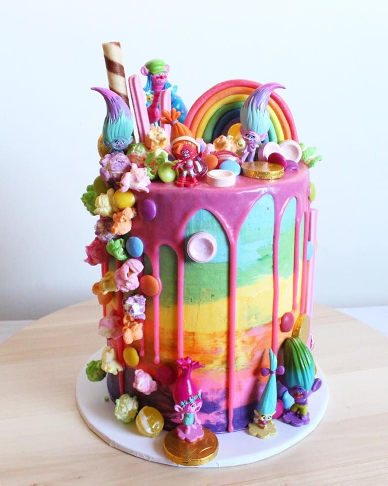 Trolls Birthday Cake Chocolate Drip White Rainbow Popcorn Swiss Meringue Buttercream