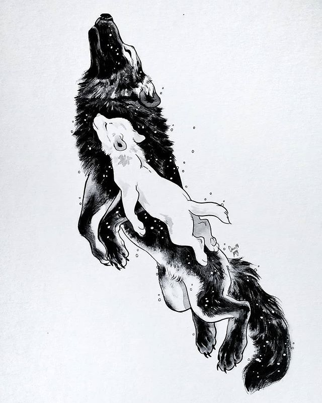 """Photo of Art of Devin Elle Kurtz on Instagram: """"The wolf mother Mor lived with her daughter Awyr in th…"""