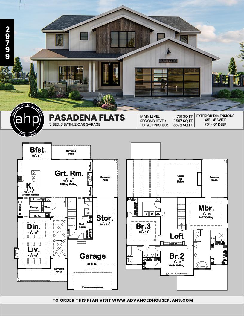 2 Story Modern Farmhouse Plan Pasadena Flats Modern Farmhouse Plans Modern Style House Plans Family House Plans